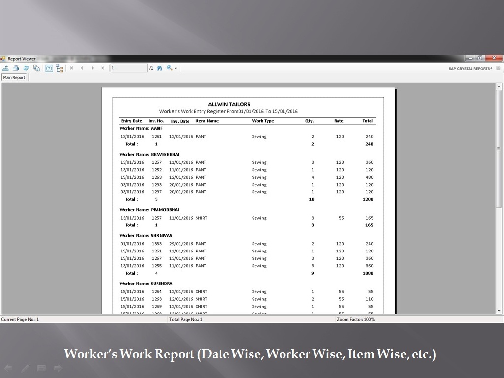 Worker Work Report - Sunrise Software
