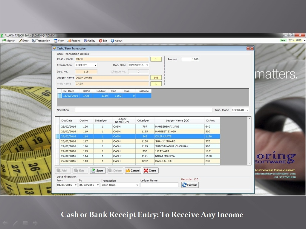 Cash Bank Receipt Transaction - Sunrise Software