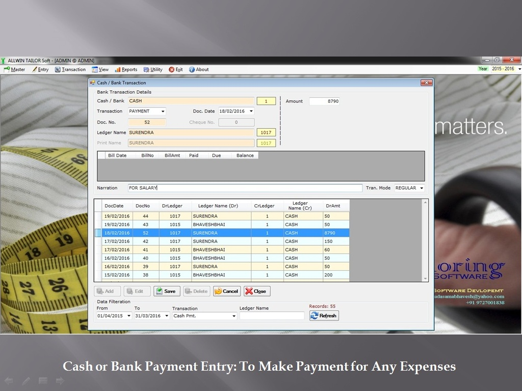 Cash Bank Payment Transaction - Sunrise Software