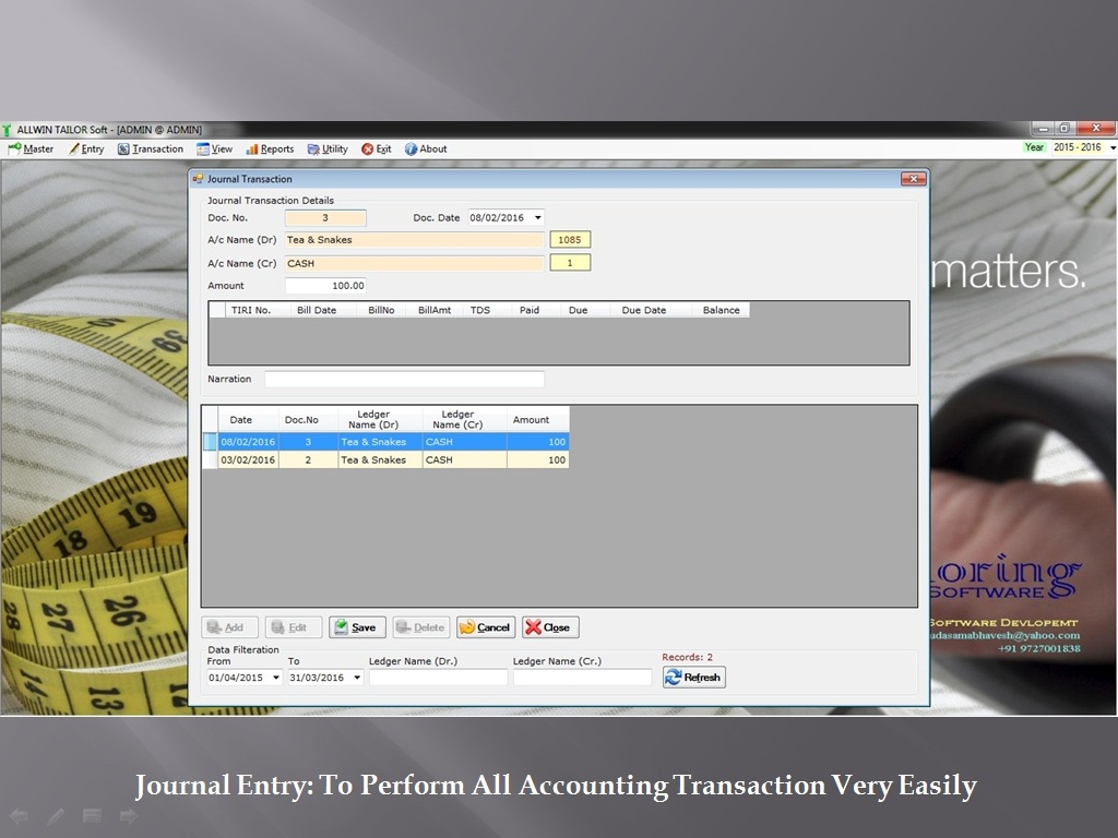 Journal Accounting Entry - Sunrise Software