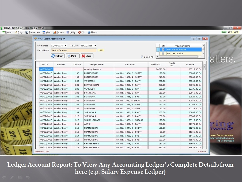 Account Ledger Report - Sunrise Software