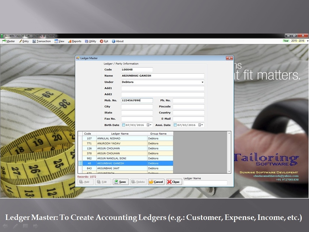 Ledger Customer Master - Sunrise Software