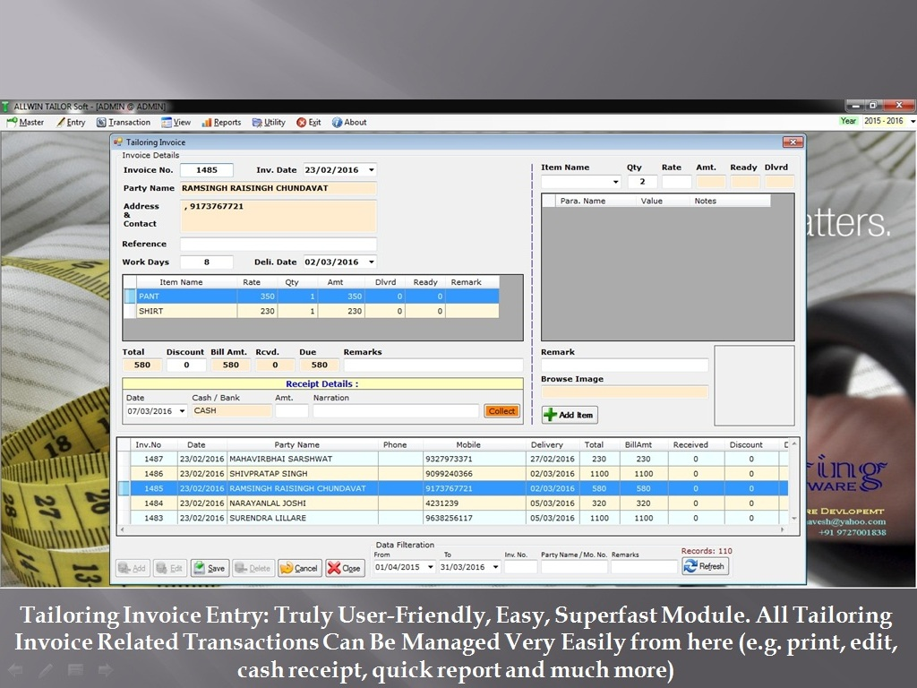 Tailoring Invoice - Sunrise Software