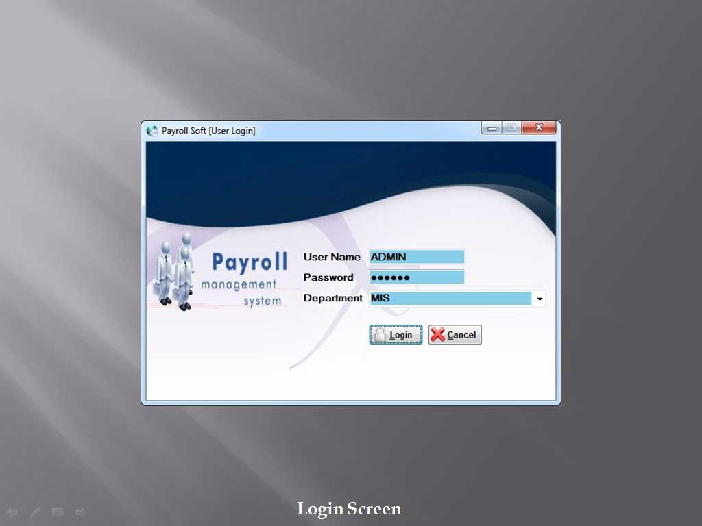 Login Screen - Sunrise Software