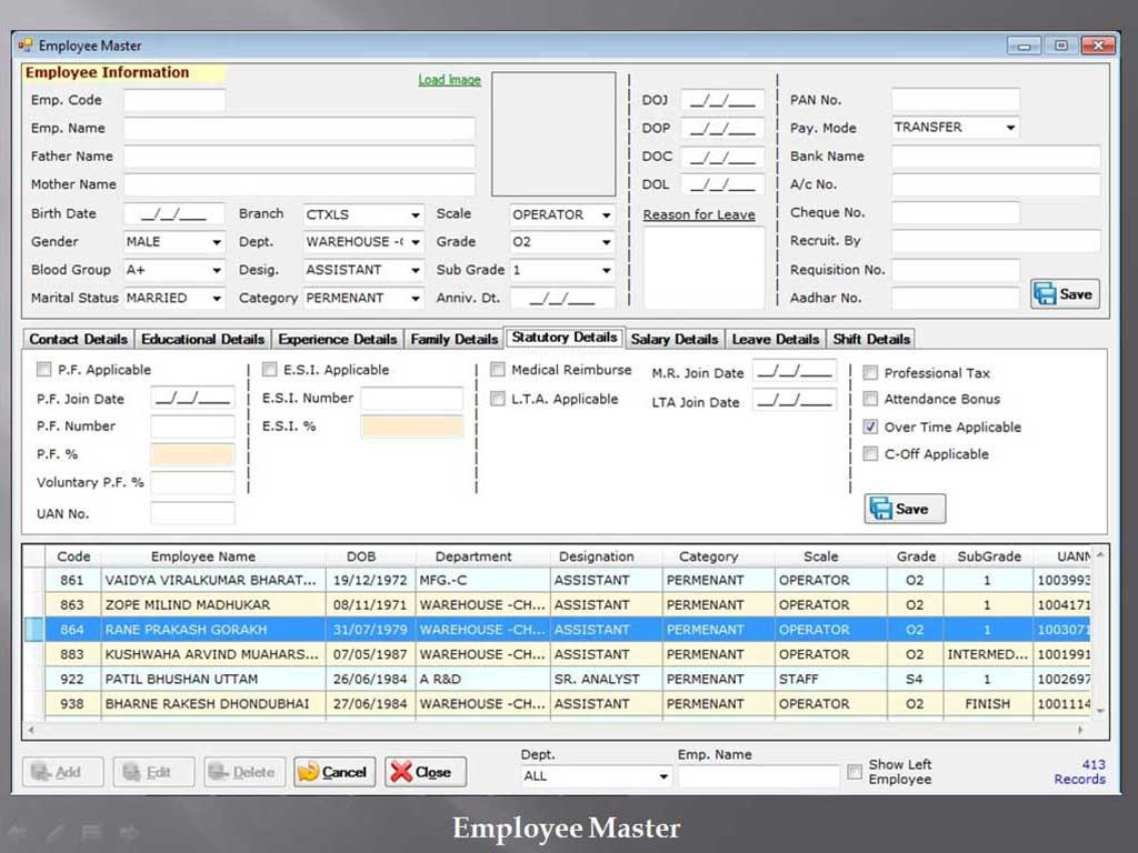 Employee Master - Sunrise Software